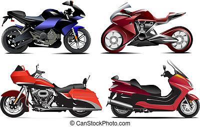 vector, cuatro, moderno, ilustración, motorcycle.
