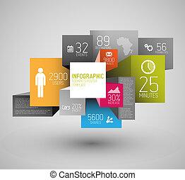 vector, cubos, plano de fondo, resumen, ilustración, infographic, /, plantilla, cuadrados