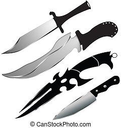 vector, cuchillos, conjunto, -, especial