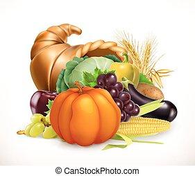 vector, cuerno, cornucopia., cosecha, plenty., icono, fruits, vegetables., 3d
