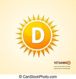 vector, d, etiqueta, sol, tarjeta, plano de fondo, vitamina, concept.