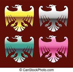Vector de águilas cromadas de color brillante