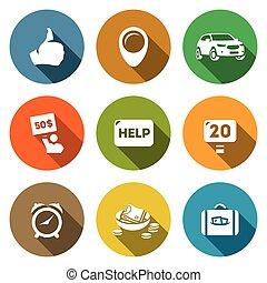 Vector de autoestopistas iconos de turismo. Pulgar, lugar, coche, precio, ayuda, carretera, tiempo, bajo costo, equipaje.