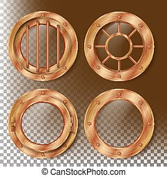 Vector de babor Brass. Ventana de metal con remaches. Elemento de diseño de la nave Bathyscaphe. Para laboratorio, aviones, submarinos. Aislado en el fondo transparente ilustración realista