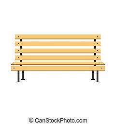 Vector de banco de madera, diseño de ilustración plana