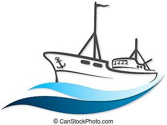 Vector de barco de pesca