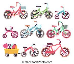 Vector de bicicletas para niños. Colección de bicicletas para niños