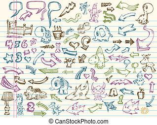 Vector de bocetos Doodle fijado