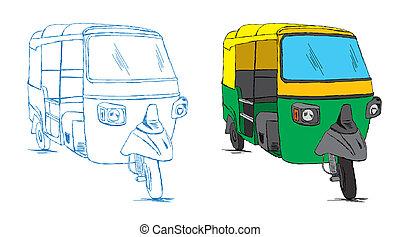 Vector de bocetos indio de rickshaw