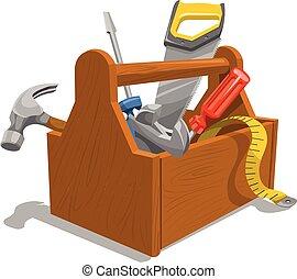 Vector de caja de herramientas de madera.