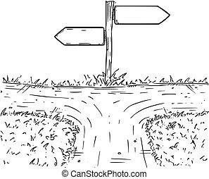 Vector de cartón cruzado con señal de dirección vacía con flechas de decisión