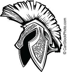 Vector de cascos de troyano espartano