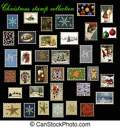 Vector de colección de sellos de Navidad