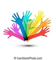 vector de colorido manos aisladas en el fondo blanco