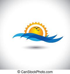 vector de concepto del océano - hermoso amanecer matutino, ondas de aves