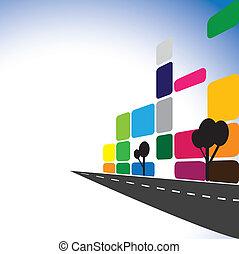 Vector de concepto: edificios de oficinas coloridos, apartamentos, rascacielos. La ilustración gráfica también representa la ciudad en el centro con carreteras modernas, construcción, industria inmobiliaria, complejos comerciales