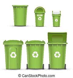 Vector de cubo de reciclaje verde para basura de vidrio. Abierto y cerrado. Vista frontal. Flecha de firma. Ilustración aislada