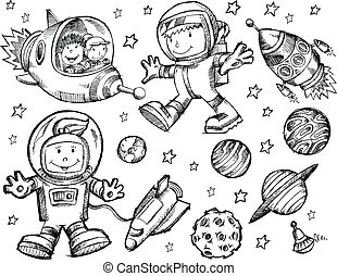 Vector de dibujo del espacio exterior