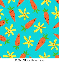 Vector de dibujos animados con zanahorias bonitas. Diseño de fondo brillante.