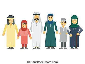 Vector de dibujos animados: familia árabe musulmán.