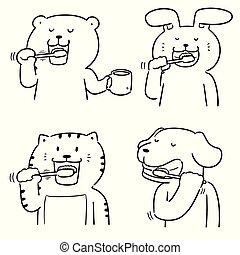 Vector de dientes de cepillo de animales