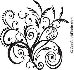 Vector de diseño negro floral
