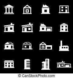 Vector de edificios blancos iconos establecidos