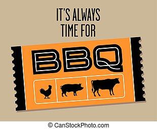 Vector de entradas de barbacoa con vaca, cerdo y pollo.