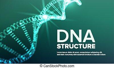 Vector de estructura de ADN. Hélice abstracta. Molécula genética. Código futurista. Ilustración