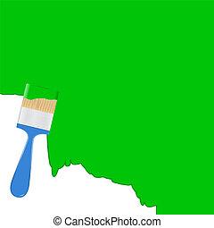 Vector de fondo verde con pincel azul