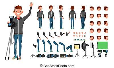 Vector de fotografía. Tomando fotos. Personaje animado. A toda velocidad. Accesorios, poses, emociones, gestos. Ilustración plana de dibujos animados