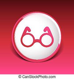 Vector de gafas redondas símbolo de visión de icono especifica decoración