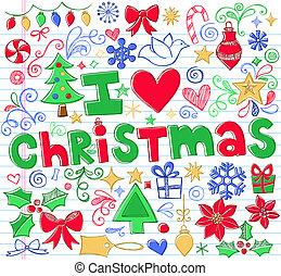 Vector de garabatos navideño listo