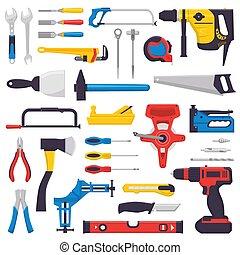 Vector de herramientas manual de construcción de herramientas pinzas martillo y destornillador de taller de ilustración de la caja de herramientas un conjunto de carpinteros cortadores y sierras de mano aisladas en fondo blanco