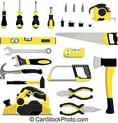 Vector de herramientas manual de construcción de herramientas pinzas martillo y destornillador de ilustración taller industrial de taller de ilustraciones industriales de carpinteros Spanner y sierra manual aislada en el fondo blanco