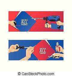 Vector de herramientas manuales de construcción de herramientas pinzas martillo y destornillador de taller de ilustración de la caja de herramientas un conjunto de almohadilla de carpinteros de fondo y trasfondo de sierra manual