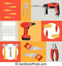 Vector de herramientas sin costura de patrones de construcción de herramientas pinzas de martillo y pinzas de destornillador de ilustración de la caja de herramientas talleres de fondo de carpinteros de fondo y de trasfondo
