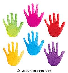 Vector de huellas de manos coloridas, arte poligonal