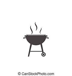 Vector de icono de barbacoa, símbolo de la fiesta de barbacoa