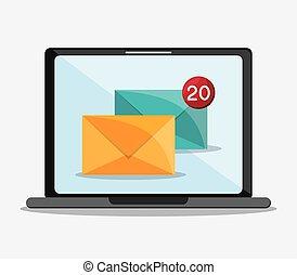Vector de icono de comunicación por correo de Enlope