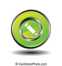 Vector de icono de lápiz verde brillante