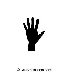 Vector de icono de mano. Ilustración de vectores en blanco