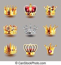 Vector de iconos Crowns fijado