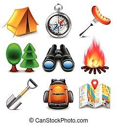 Vector de iconos de campamento listo