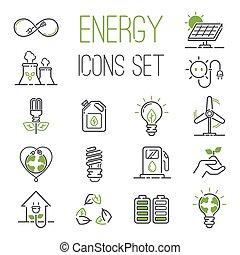 Vector de iconos de energía fijado.
