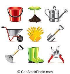 Vector de iconos de herramientas de jardinería