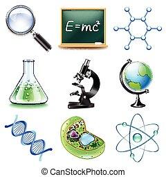 vector de iconos de la ciencia fijado