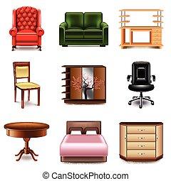 Vector de iconos de muebles fijado