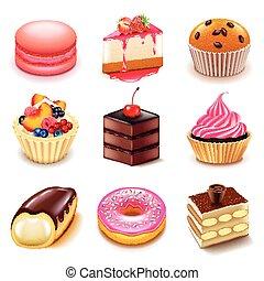 Vector de iconos de pasteles listo