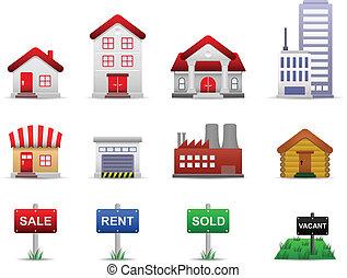 Vector de iconos de propiedades inmobiliarias